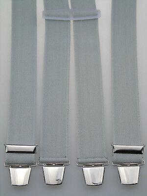 extra starke H-Form Hosenträger 35 mm breit Silbergrau starke Clips