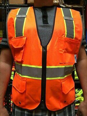 Tcsv3-or High Visibility Orange Two Tones Safety Vest Ansi Isea 107-2015