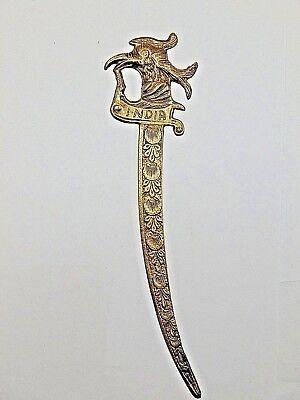 "Antique Brass BIRD & FISH INDIA DESIGN Letter Opener 9"" Long"