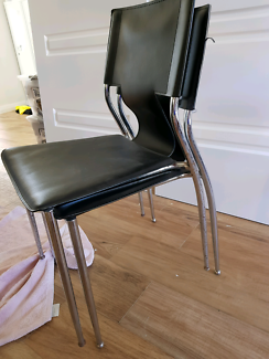 Black and chrome dining / office chairs x 2