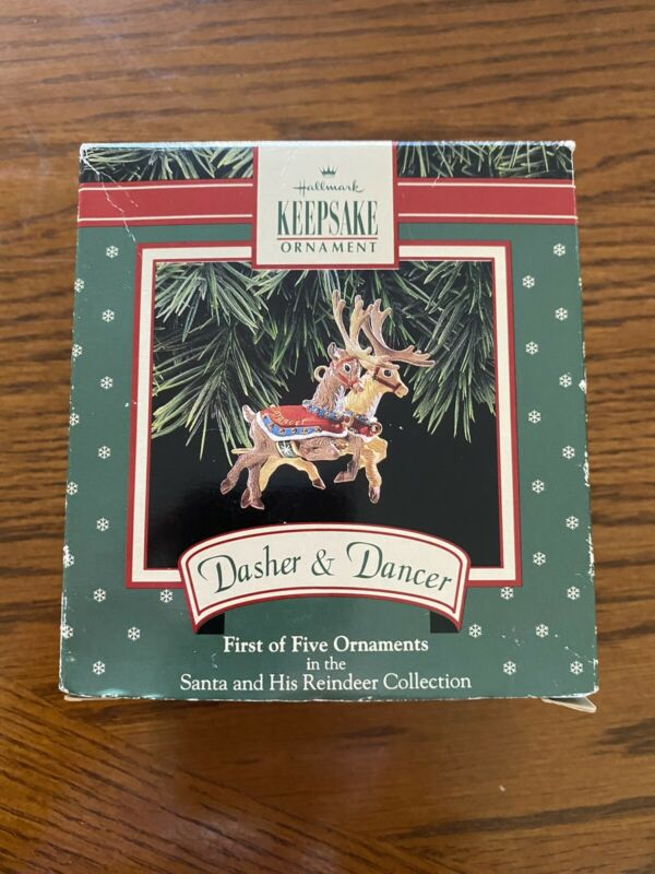 Hallmark - First - Dasher & Dancer - Santa and his Reindeer - Circa 1992