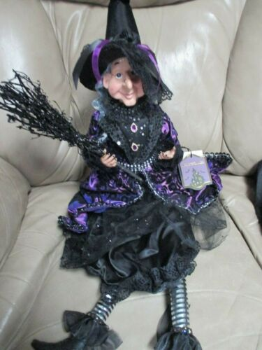 NWT HALLOWEEN Witch Doll - Shelf Sitter /Broom, Hat, Sweet Face-Purple Outfit!!
