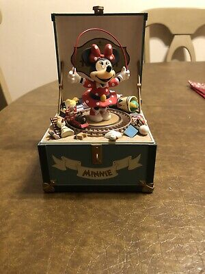 """Vintage Scmid """"Minnies Toy Chest"""" Hand Painted Music Box Hand Painted Toy Chest"""