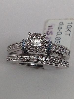 New 10K White Gold Blue and White Diamond Engagement Ring and Wedding Band - Blue And Gold Wedding