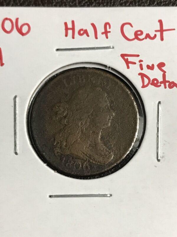 1806 Half Cent Fine Details C-4 R-1