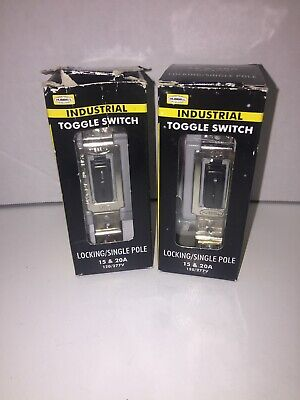 New 2 Hubbell Industrial Locking Toggle Switch Single Pole 1221lz 15-20a Black