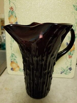 - PURPLE AMETHYST ANCHOR HOCKING PITCHER, TAHITI BAMBOO PATTERN ICE LIP EXCELLENT