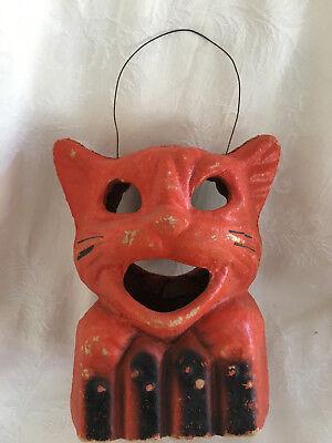 Vintage Halloween Pulp (Paper Mache) Orange Cat Head on Fence Lantern #13 - Paper Mache Heads Halloween