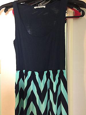 Chevron Maxi Dress Size Medium Mint Green Navy Blue