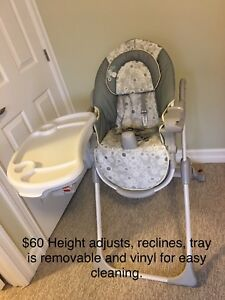 High Chair and Cradle Swing both for $60.