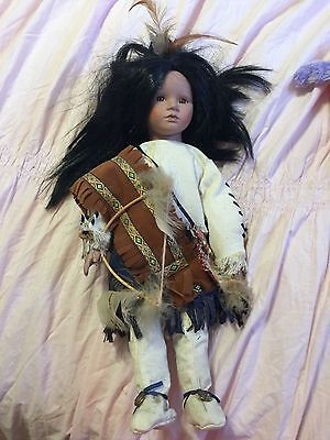 "PORCELAIN NATIVE AMERICAN INDIAN GIRL DOLL-16"" WITH BOW AND ARROWS for sale  Cape Coral"