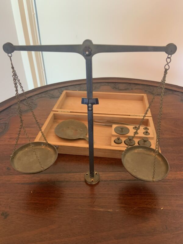 Gold Silver German Balance Scale Troy Weights Box Brass Metal