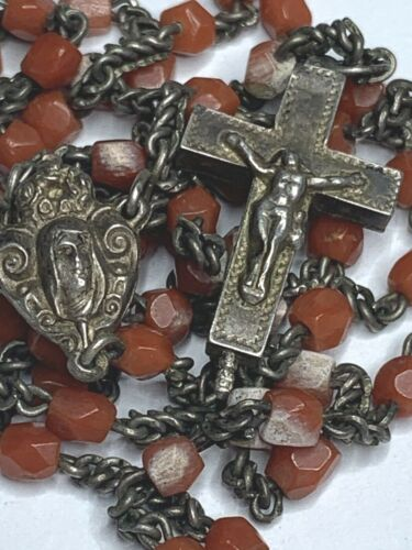 † SCARCE ANTIQUE ENAMELED LOCKET CASE & TINY GENUINE CORAL RELIC CROSS ROSARY  †