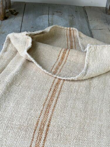 GRAIN SACK GRAINSACK fabric linen homespun European CARAMEL stripe bag feed