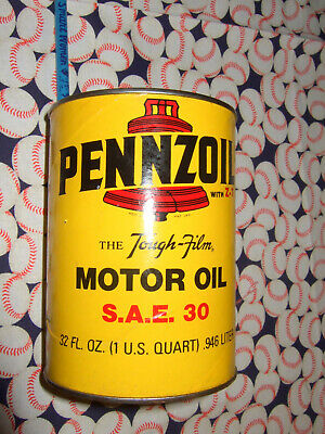 Vintage Full Pennzoil Tough Film Motor Oil 1 Quart Paper Can SAE 30