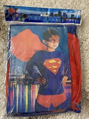 Super Man Costume NWT Boys Size Large (5-7) 3 Piece Set Halloween
