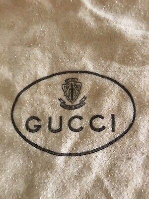 Vtg GUCCI Flannel Dust Bag Drawstring Leather Tab Pull Beige Logo 10 X 12