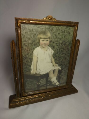 Vintage Art Deco 8x10 Tabletop Picture Frame Swivel Tilt Swing - All Original
