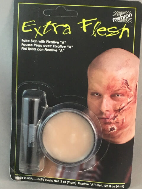 """Extra Flesh fake skin with fixative """"a"""" Mehron create scars wounds lacerations"""