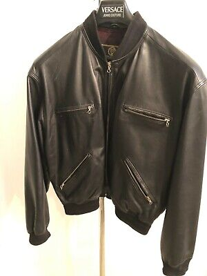 Istante by Versace Leather Jacket Men Size EUR 52 US 42 Large