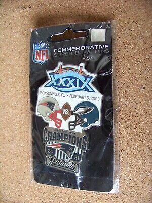 N. E. New England Patriots vs Philadelphia Eagles Super Bowl 39 XXXIX lapel pin