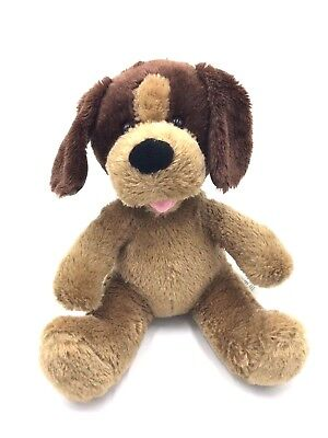 Build-A-Bear Workshop Plush Tan Puppy Dog w/ BAB Paw Patch Pink Tongue Patches