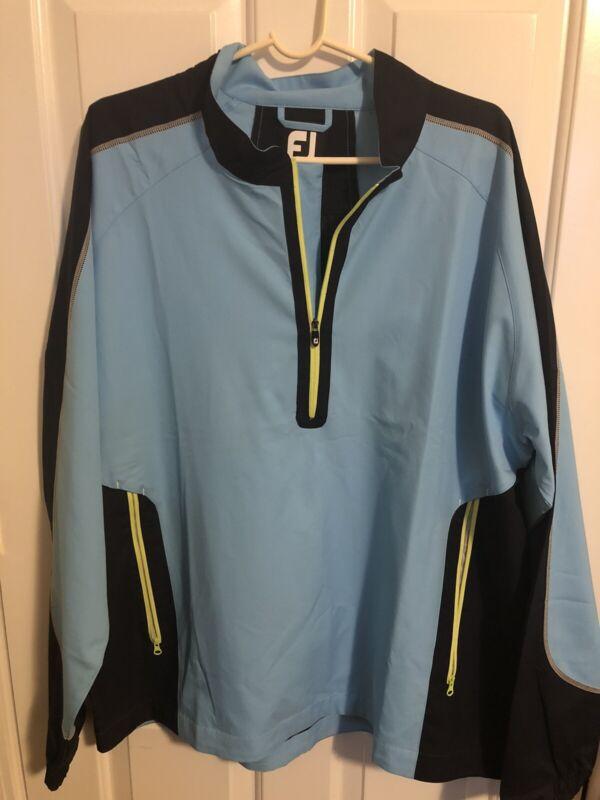 Footjoy 1/4 Zip Golf Windbreaker Rain Pullover, Size XL, Blue And Yellow