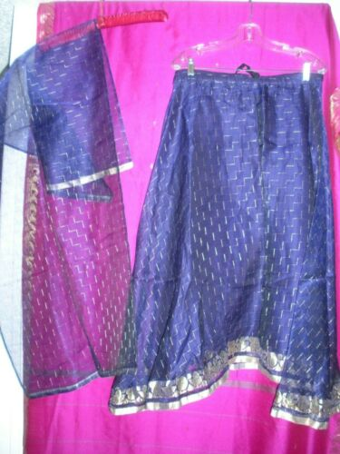 FROM INDIA,  PURPLE & GOLD  LINED SKIRT W/ MATCHING LONG FABRIC