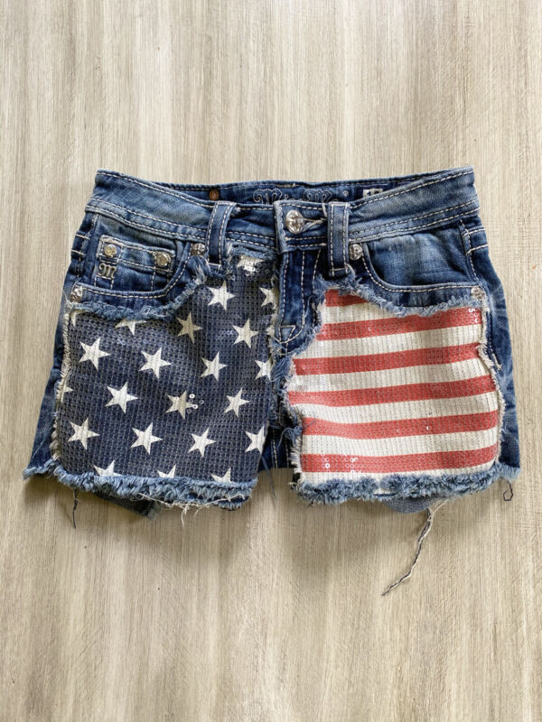 MISS ME GIRLS AMERICAN FLAG SEQUIN SHORTS SIZE 12
