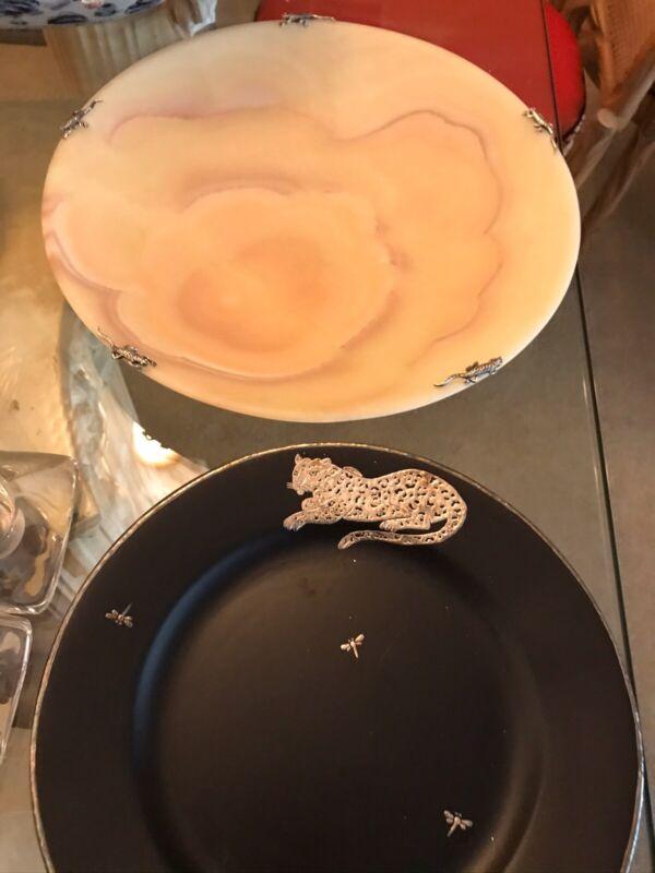 "Emilia Castillo Sandstone W/SS Geckos Around Rim 14"" Shallow Bowl Container"