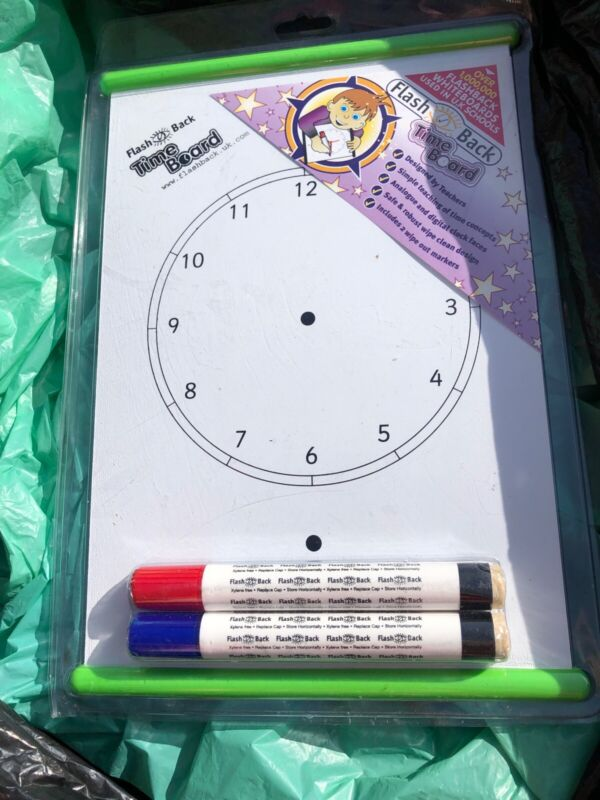 Flash+Back+Time+Board+White+Wipe+Board+Learn+To+Tell+Time+Home+Schooling