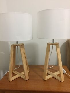 2 x wooden table lamps