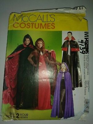 USED MCCALLS 4139 PATTERN COSTUME HALLOWEEN WITCH VAMPIRE CAPE GOTHICl