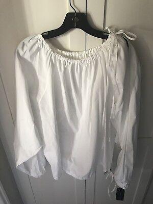 CEDRIC CHARLIER White Cotton Poplin Long Sleeve Bubble Top 42 M 8