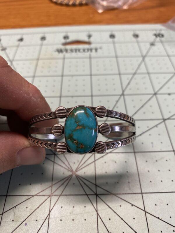Vintage Navajo Austin Ike Wilson Stampwork Turquoise Sterling Silver Bracelet