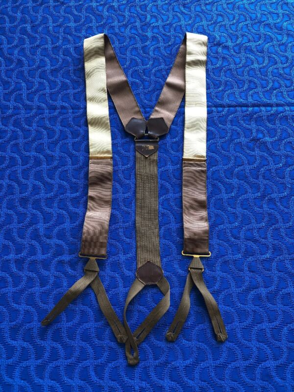 Antique 30/40's Pioneer Brand Solid Brown  Silk Suspenders Braces Leather