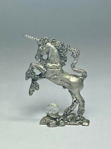 Small Pewter Unicorn Figure with Faceted Crystal Ball