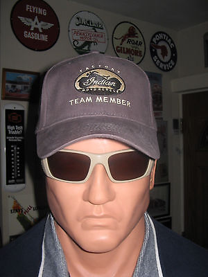 Indian Motorcycles Biker Baseball Cap Gray Hat Gold Stitch Factory Team Member !