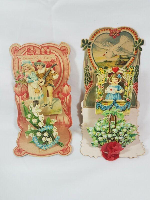 2 German Vintage Victorian 3-D Pop-Out Die Cut Valentine Card Antique Sweetheart