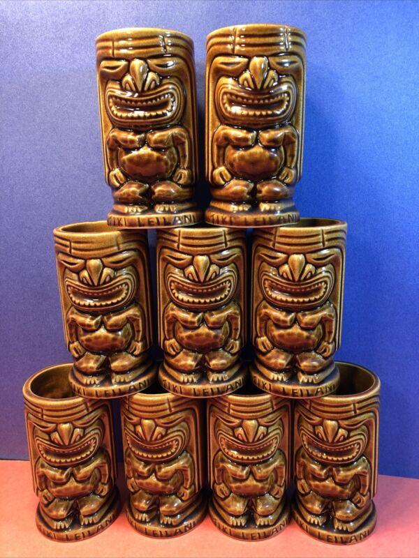 Tiki Leilani Hawaiian Ceramic Tumblers Bar Mugs Cups Set of 9 Vintage