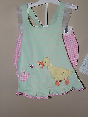 Le Top Bloomers (Le Top 12m Duck Swing Top Bloomers Set Green Pink Polka Dots Ladybug Ruffles)