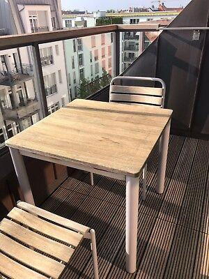 Outdoor Möbel Aluminium / Teak vier Stühle und Esstisch Manufaktur WEISHÄUPL