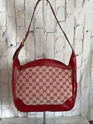 Gucci Hobo Vintage 70's Red Leather & GG Monogram Canvas Shoulder Bag