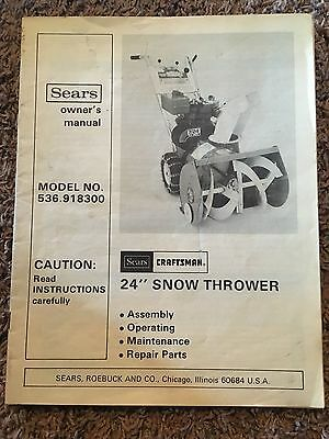 Sears Craftsman 24 Snow Thrower Owners Manual