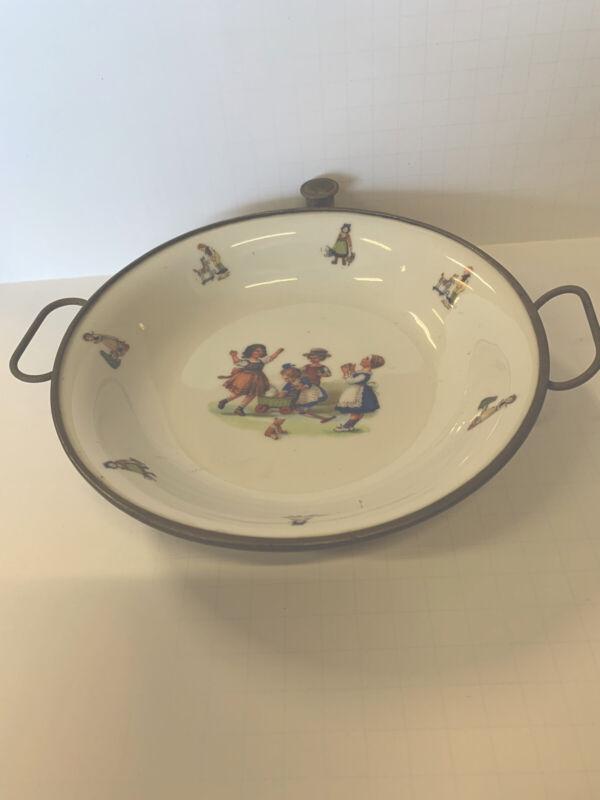 Vintage German Childs Porcelain Warming Feeding Dish Plate Germany