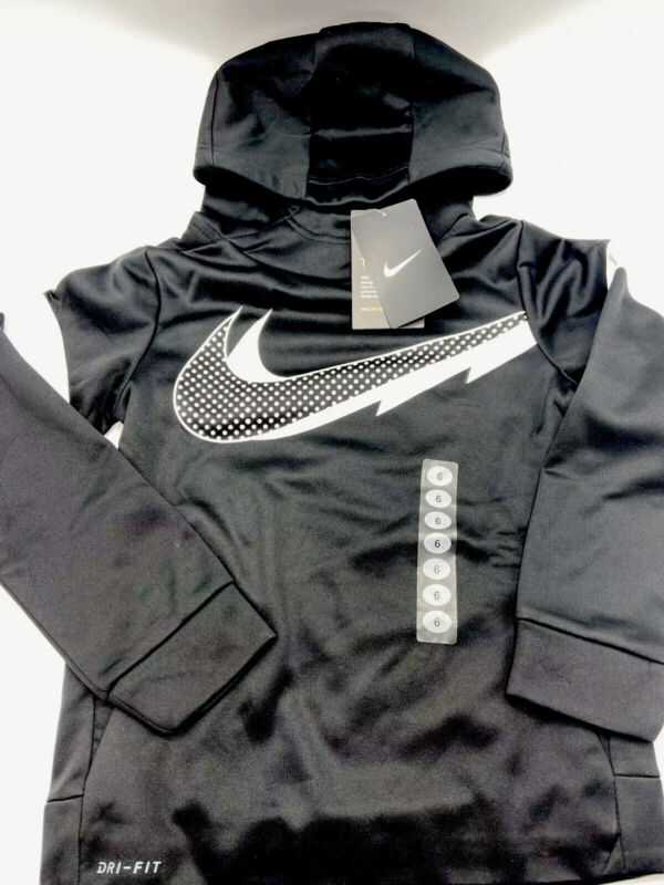 Nike Therma Dri Fit Fleece Lined Hoodie Size 6  Boys - Black and White - New!