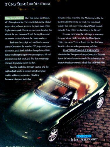 """1990 Mazda Miata Convertible SE Original Print Ad-8.5 x 11"""""""