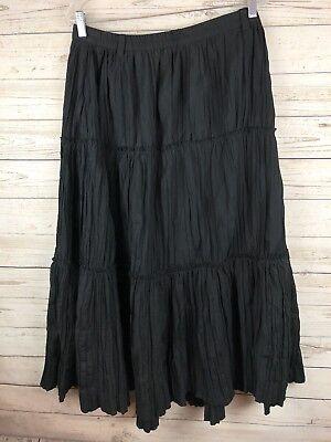 Issac Mizrahi Target S Black Crinkle Long Maxi Aline Flare  Skirt s4 (Target Long Skirts)
