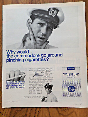 1966 Waterford Cigarettes Ad Why Would Commodore go around Pinching Cigarettes?