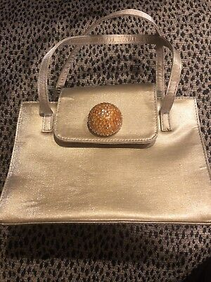 Stuart Weitzman Spain Gold Holiday Party Evening Purse Bag Magnetic close  (Spain Party)